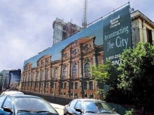 Printed building wrap covering museum