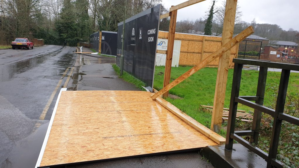 hoardings damaged by wind